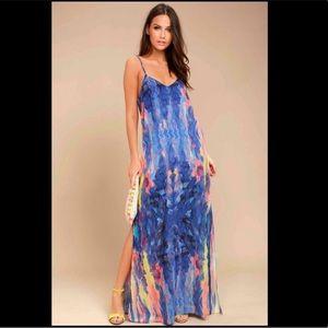 NWT Lulu's Flying Watercolors maxi dress
